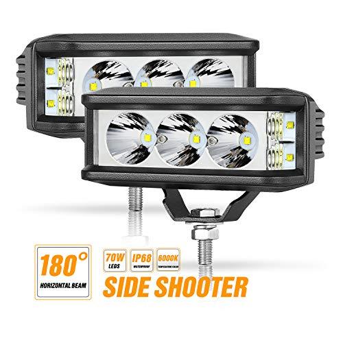 Side Shooter LED Pods, Niwaker 5 Inch 70W LED Light Pod Spot Flood Combo Beam Off Road Driving Lights for Truck Pick-up ATV UTV SUV Boat, 2 Pack