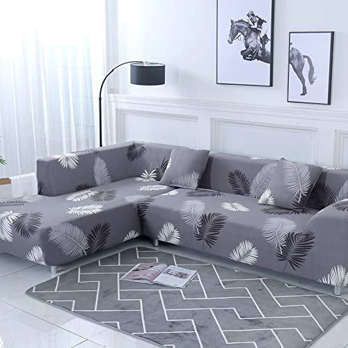 Sectional Corner L-Shaped Sofa Cover Sofa Protector L-Shape Couch Decoration Polyester Fabric Stretch Slipcovers for Left/Right Side Sectional Sofa (Black Feather, L-Shape 3+3 Seats)