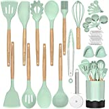 Silicone Cooking Kitchen Utensil Set, Fungun 26 pcs Cooking Utensils Set, Wooden Handle BPA Free Non...
