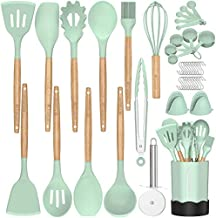 Silicone Cooking Kitchen Utensil Set, Fungun 26 pcs Cooking Utensils Set, Wooden Handle BPA Free Non Toxic Silicone Turner Tongs Spatula Spoon Kitchen Gadgets Utensil for Nonstick Cookware-Turquoise