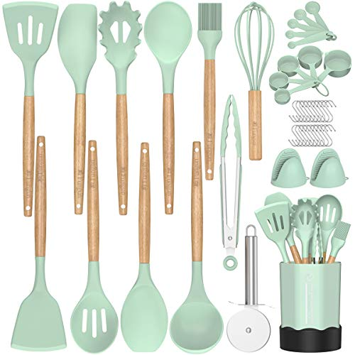 Silicone Cooking Utensils Kitchen Utensil Set - Fungun 26 Pieces Wooden Handles Cooking Tools Turner Tongs Spatula Spoon for Nonstick Cookware - Best Kitchen Tools (Turquoise)