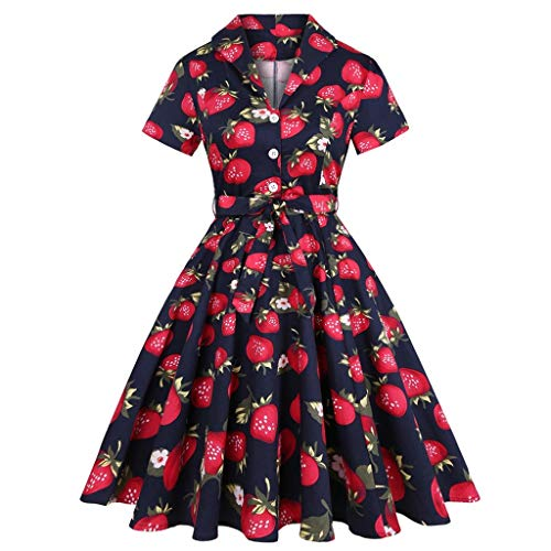 YWSZJ Vintage Kleider Retro Pin Up Tunika Frauen Herbst Winter Casual Party Robe (Color : C, Size : XL Code)