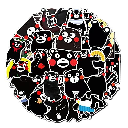 MBGM 50 piezas de dibujos animados emoticono pack Kumamoto oso maleta portátil teléfono móvil monopatín guitarra impermeable no marca pegatinas
