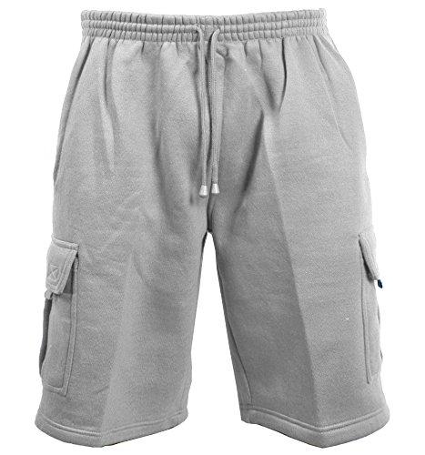 Guytalk Men's Solid Fleece Cargo Sweat Shorts 5XL Grey