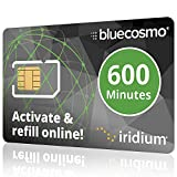 BlueCosmo Iridium 600 Min Prepaid Global SIM Card - Satellite Phone Airtime – 1 Year Expiry - No Activation Fee – No Monthly Fee - Refillable - Rollover - Easy 24/7 Online Activation and Refills