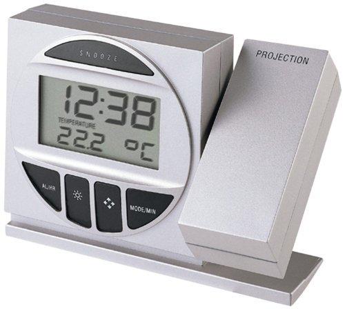 Technoline, Projektionswecker WT 590 mit Funkuhr, Innentemperaturanzeige und Datumsanzeige (Silber mit Batterien)