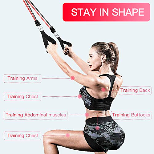 【2020 Newest】 Resistance Bands Set Home Fitness 5 Stackable Exercise Bands Door Anchor 2 Handles 2 Legs Ankle Straps Waterproof Carry Bag for Resistance Training Physi Cal Therapy 7
