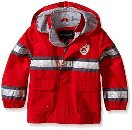 London Fog Toddler Boys Fireman Rain Slicker, Red, 3T