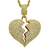 Men Broken Heart Chain Pendant,18k Gold Plated Fully Iced Out Rhinestone Rape Chain Necklace