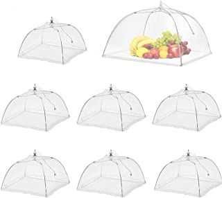8 Pack Large Pop-Up Mesh Screen Food Cover Tent Umbrella, 17 inch Reusable and Collapsible Outdoor Picnic Food Covers Mesh