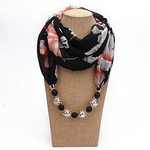 AIMICONG Sciarpa Collana di Gioielli Decorativi Multi Stile Perline in Resina Sciarpa con Pendente Donna Foulard Sciarpe con Testa Femme Hijab Sciarpe K