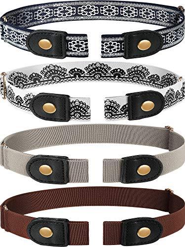 4 Piezas de Cinturón Elástico Sin Hebilla Cinturón Sin Hebillas Cinturón Elástico Invisible Unisex para Pantalones Vaqueros (Color 3)
