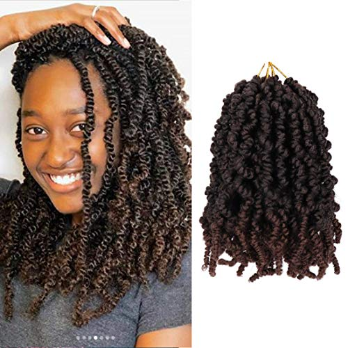 3Packs Pre-twisted Spring Twist Hair 8 Inch Pre-Twisted Short Passion Twists Crochet Braids For Bob Spring Twists Short Curly Bomb Twist Braiding Hair Hair Extensions 18Strands/Pack (T1B/33#)
