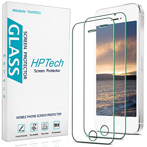 of ulak glass screen protectors 2-Pack HPTech Tempered Glass For Apple iPhone SE 2016, iPhone 5S, iPhone 5, iPhone 5C Screen Protector, Easy to Install, Bubble Free, 9H Hardness
