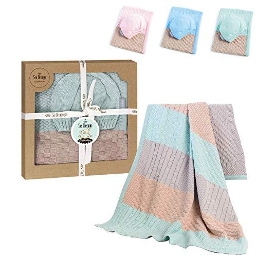 sei Design Baby Decke aus 100% Baumwolle 90 x 70   kuschelige Strickdecke + Mütze   Ideal als Erstlingsdecke, Kuscheldecke, Puckdecke für Mädchen oder Jungen