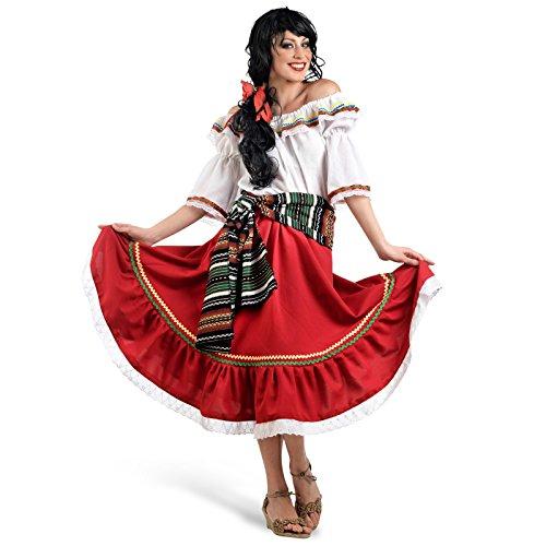 Carnavalskostuum dames danseres bont Mexicaanse carnaval zigeunin rode rok blouse carmenuitsnijding scheerp fytmus-omlijsting
