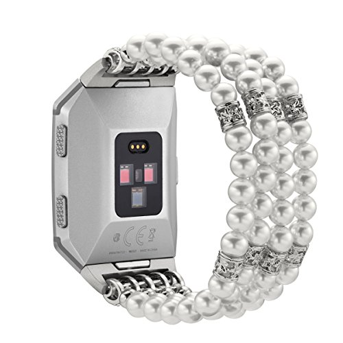 Cuzit Bracelet de rechange pour montre Fitbit Ionic, accessoire de remplacement pour fête, mariage, club, bal, réunion, blanc
