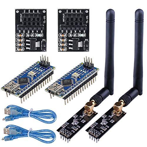 WayinTop 2Set RF Wireless Transceiver Empfänger mit Tutorial, NRF24L01+PA+LNA Wireless Module mit SMA Antenne 2.4 GHz 1100m + NRF24L01 Spannungsregler + ATmega328P Board für Arduino