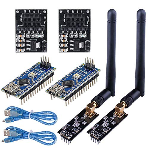 WayinTop 2Set Wireless Transceiver Receiver with Tutorial, NRF24L01+PA+LNA RF Module with SMA Antenna 2.4 GHz 1100m + NRF24L01 Regulator + Nano V3.0 ATmega328P Board for Wireless Communication System