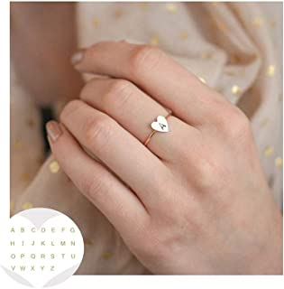 Heart Shape A-Z Initial Letter Ring for Women Engagement Jewelry Delicate Gift