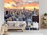 Oedim Vinilo para Pared Atardecer en Manhattan | Fotomural para Paredes | Mural | Vinilo Decorativo | 200 x 150 cm | Decoración comedores, Salones, Habitaciones