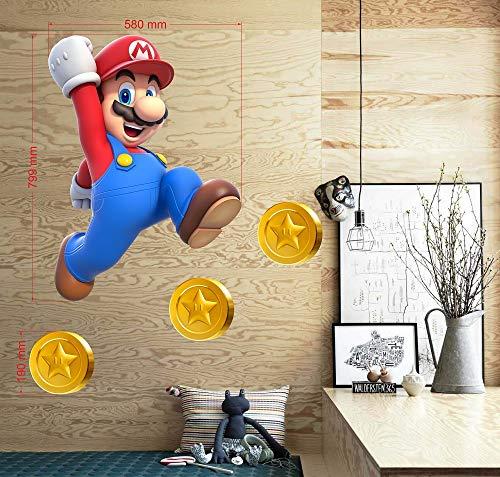 BOARA Wandaufkleber, Wandbilder Mario, Wandtattoo Super Mario Pattern 799mmX 580mm