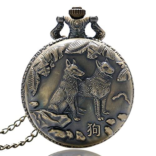 JTWMY Orologio da Tasca al Quarzo di Design della Serie dello Zodiaco Cinese in Bronzo Antico Orologio da Tasca con Pendente della Collana dell'orologio degli Animali FOB Chain-Dog