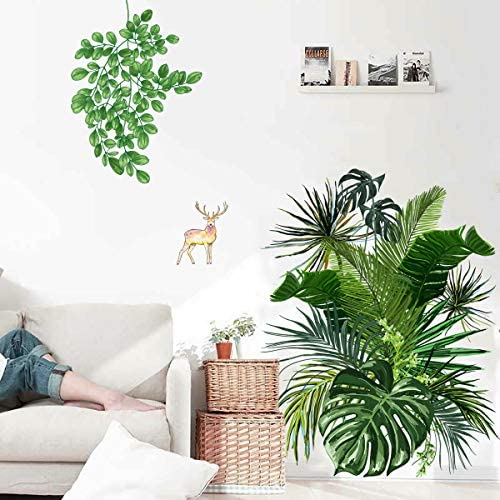 Green Potted Plants Wall Stickers Green Tropical Leaves Wall Decals Palm Wallpaper Tree Leaf product image