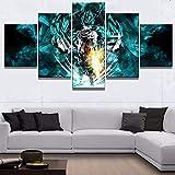 FJLOVE Impresiones de Lienzo Dragon Ball Saiyan de Dios Juego de 5 combinables Decorativas Póster Wall Art Decoración,Frameless,150x80cm
