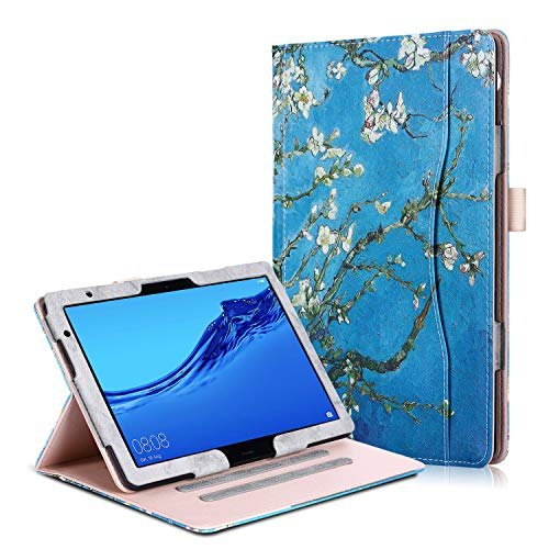 Huawei MediaPad T5 10 / M5 Lite 10 Hülle - PU Lederhülle Schutzhülle Cover Tasche mit Stylus-Halterung für Huawei MediaPad T5 / M5 Lite Tablet-PC (25,6 cm, 10,1 Zoll) 2018 Modell, Aprikosenblüte