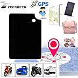 ZEERKEER Personal GPS Trackers Ultra-Thin Hidden Mini GPS Locator Anti-Lost/Anti-Theft Real Time GPS Tracking Device for Kids/Elderly/Luggage/Wallet/Important Files with Free App (Black)