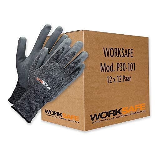Worksafe werkhandschoenen (12 x 12 paar), P30-101 – ademend, hoge precisie, slijtvast, nitril/nylon 144 paar. 10 = XL