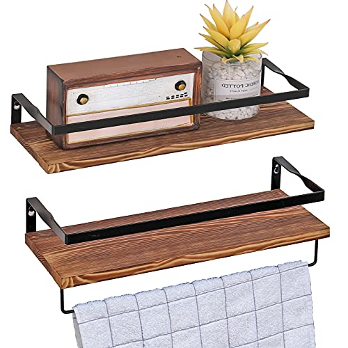 Floating Shelves Wall Mounted Storage Shelf Wooden Wall Shelf with Towel Holder,Floating Shelf for Living Room, Kitchen and Bedroom,Solid Wood with Metal
