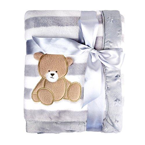 Coperta di flanella per bambini spessa di lusso, pile morbido e caldo in peluche 75 x 100 cm, coperta per neonati a doppio strato per carrozzina o culla neonato (orso grigio)