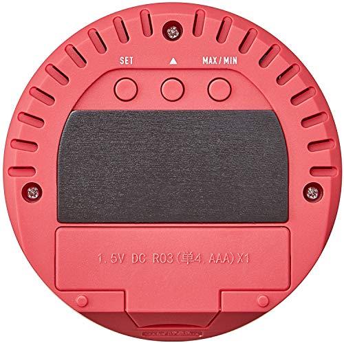 タニタ温湿度計温度湿度デジタル時計付き卓上マグネットピンクTT-585PK