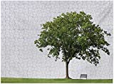 Tree Puzzles for Kids Ages 4-8 1000 Piece, Bench Under Majestic Tree Looks Like Solitude Symbol in Habitat Environment Design, Green White