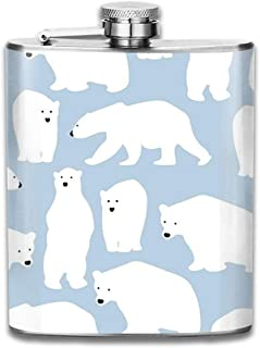 FGRYGF Frasco de Acero Inoxidable Polar Bear Hip Liquor Flask Cute Flask Whiskey Vodka Alcohol Hip Flask for Men Travel Climbing Fishing Camping