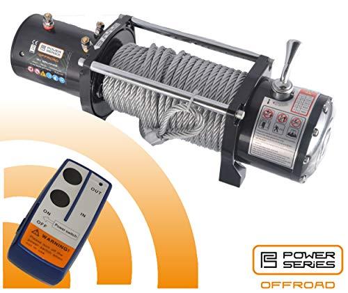 Power Series® 12V Elektrische Seilwinde 12000 mit 2 Funkfernbedienungen und 1 Handschalter - Zugkraft 5454 kg (Stahlseil / 10968 kg (mit Umlenkrolle)
