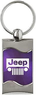 Jeep Grill Rectangular Wave Purple Key Fob Authentic Logo Key Chain Key Ring Keychain Lanyard