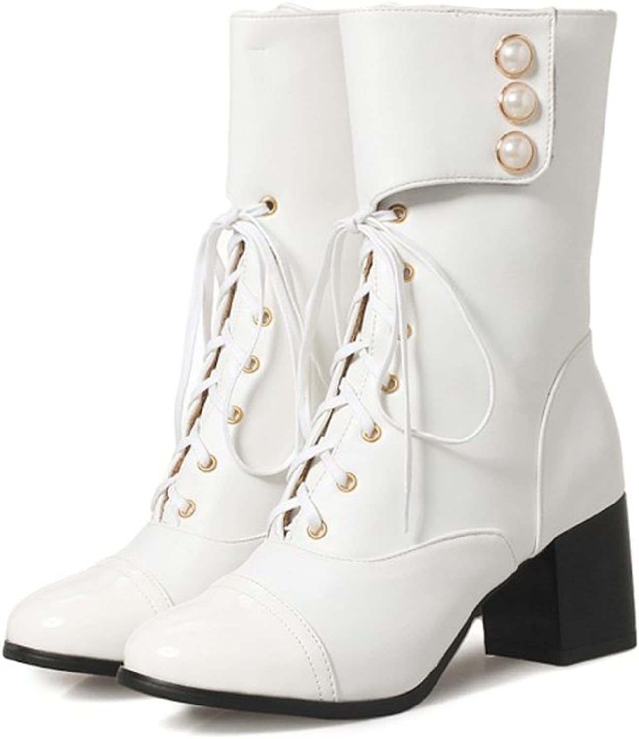 QZUnique Women shoes Fashion Square Mid-Calf Lace Up Mid-Heel Booties Round Toe Martin Boots