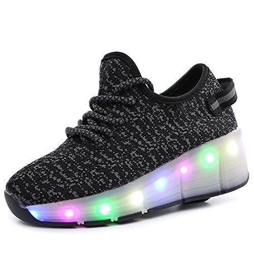 Miarui Sneakers mit Rollen LED Leuchtend Schuhe mit Rollen Unisex-Kinder Skateboard Schuhe USB Aufladen Leuchtschuhe Mädchen Junge Mode LED Rollenschuhe für Jungen Mädchen,3,39