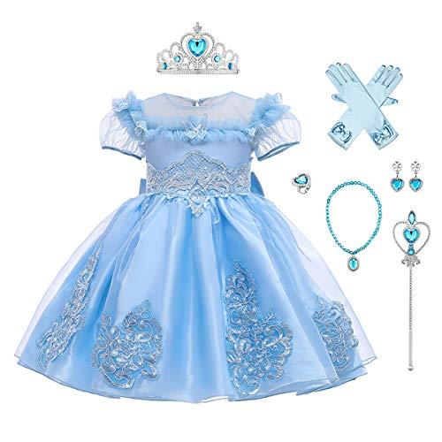IWEMEK Kinder Mädchen Aschenputtel Schneewittchen Rapunzel Eiskönigin ELSA Kostüm Prinzessin Kleid + Zubehör Halloween Karneval Kostüm Geburtstag Weihnachten Party Outfits Blau 01 Set 6-7 Jahre