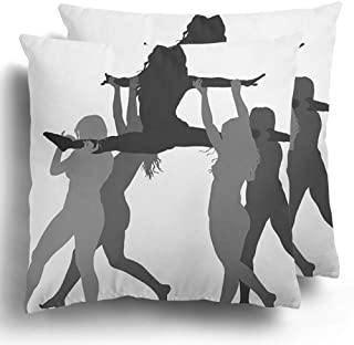 Throw Pillow Covers Set of 2 Cheerleader Dancers Figure Silhouette Cheer Leading Girl Sport Support Cushion Pillowcase Case Home Decor 18 x 18 Inches