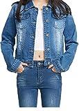 YUKE Girl's Denim Jacket Kid Embroidered Hole Denim Jacket Female Denim Clothing Coat 9-15 Age (Blue, 9-10 Years/Reference Height 22/140)