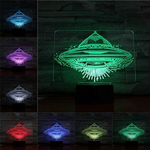 OMCR Illusion 16 Colores De Luz Nocturna, despertador LED Base, OVNI, 3D Lámpara 16 Colores LED Luz De Noche Para Niños Táctil LED USB Mesa Lámpara De Dormir Bebé Luz Nocturna Regalo de Navidad Hogar
