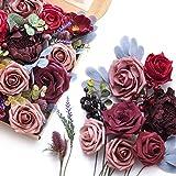 Ling's moment Künstliche Blumen, Burgunderrot, Hochzeitsdekorationen, Blumen mit Füllstoff, Grün...
