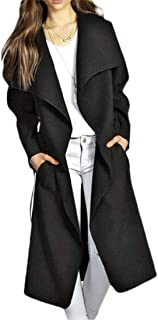Womens Long Trench Cardigan Lapel Wrap with Pocket Jacket Outerwear Coat