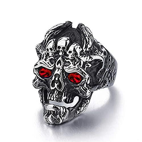 De Los Hombres Demonio Cráneo Anillo Rojo Azul Ojo Cráneo Anillo Retro Punk Gótico Víspera De Todos Los Santos Motociclista Joyas,Rojo,11