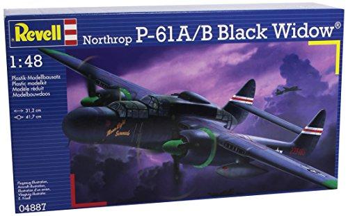 Revell Modellbausatz Flugzeug 1:48 - Northrop P-61A/B Black Widow im Maßstab 1:48, Level 5, originalgetreue Nachbildung mit vielen Details, 04887