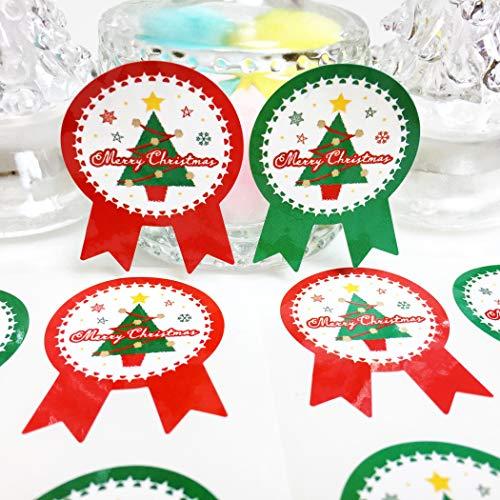 creve クリスマス ギフトシール ギフトステッカー ラッピングラベル リボン型 光沢 防水 (クリスマスツリー2色 4×3cm 100枚)